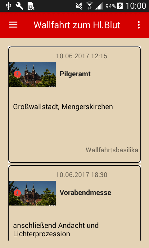 Wallfahrtsgottesdienste in der App