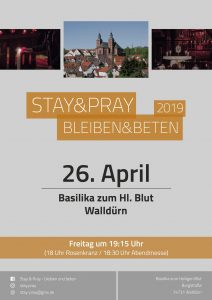 Plakat Stay and Pray am 26.04.2019