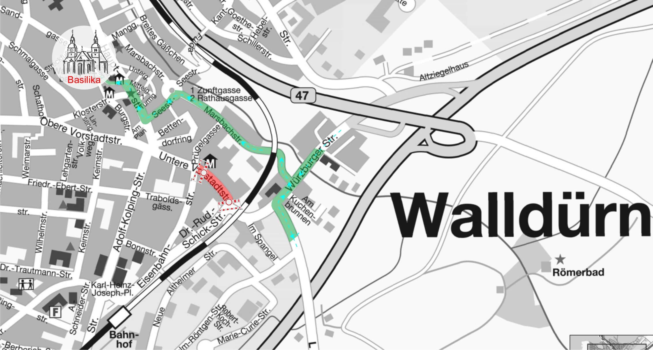 Stadtplan mit Umleitungsempfehlung durch die Marsbachstraße